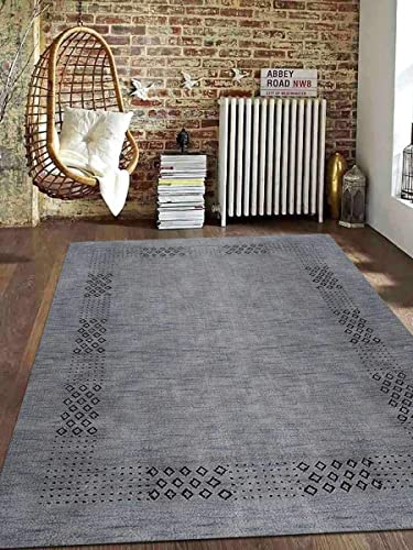 Rugsotic Carpets Hand Knotted Gabbeh Wool 10'x13' Area Rug Contemporary Light Blue L00530