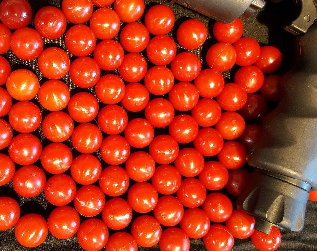 500 X .68 Cal. RED PVC/Nylon Riot Balls Self Defense Less Lethal Practice Paintballs RED