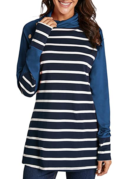20f140cd0eb2e Mystry Zone Womens Turtleneck Cowl Neck Tops Patchwork Shirts Oversized  Tunic Long Sleeve Pullover Blue S. Roll over image to zoom in