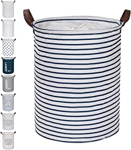 "FRIENDIY Large Laundry Hampers (9 Colors), Removable Laundry Basket, Foldable Fabric Laundry Basket, Drawstring Waterproof Round Cotton Linen Storage Basket. (Blue Strips, 17.7""/Medium)"