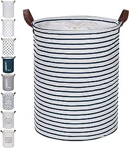 "FRIENDIY Large Laundry Hampers (9 Colors), Removable Laundry Basket, Foldable Fabric Laundry Basket, Drawstring Waterproof Round Cotton Linen Storage Basket. (Blue Strips, 17.7""/Medium)"