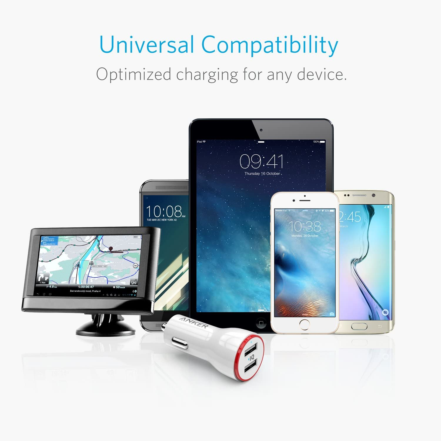 Note 5//4 LG PowerDrive 2 for iPhone X // 8//7 // 6s // Plus iPad Pro//Air 2 // Mini HTC and More Anker 24W Dual USB Car Charger Nexus