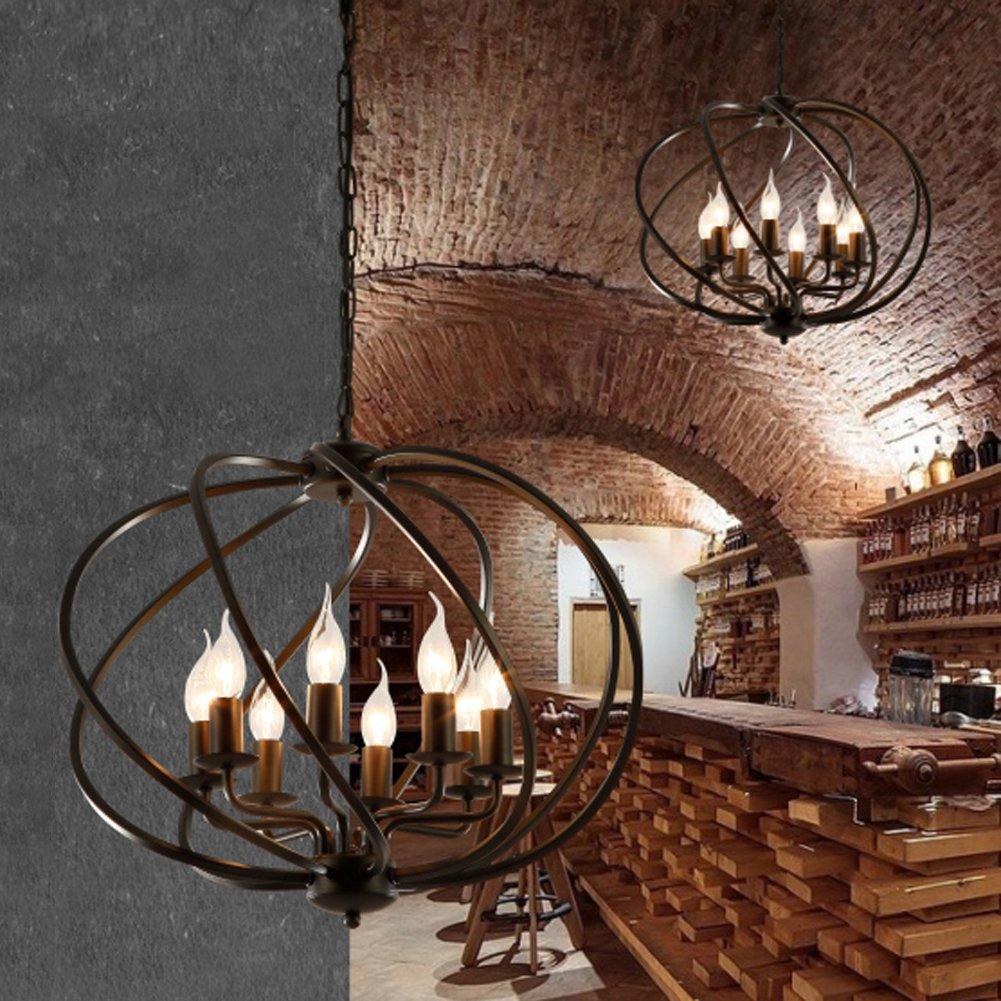 Industrial Adjustable Wrought Iron Vintage Retro Pendant Light - LITFAD 22'' Edison Metal Globe Shade Hanging Ceiling Light Cage Chandelier Pendant Lamp Fixture Black Finish with 8 Lights