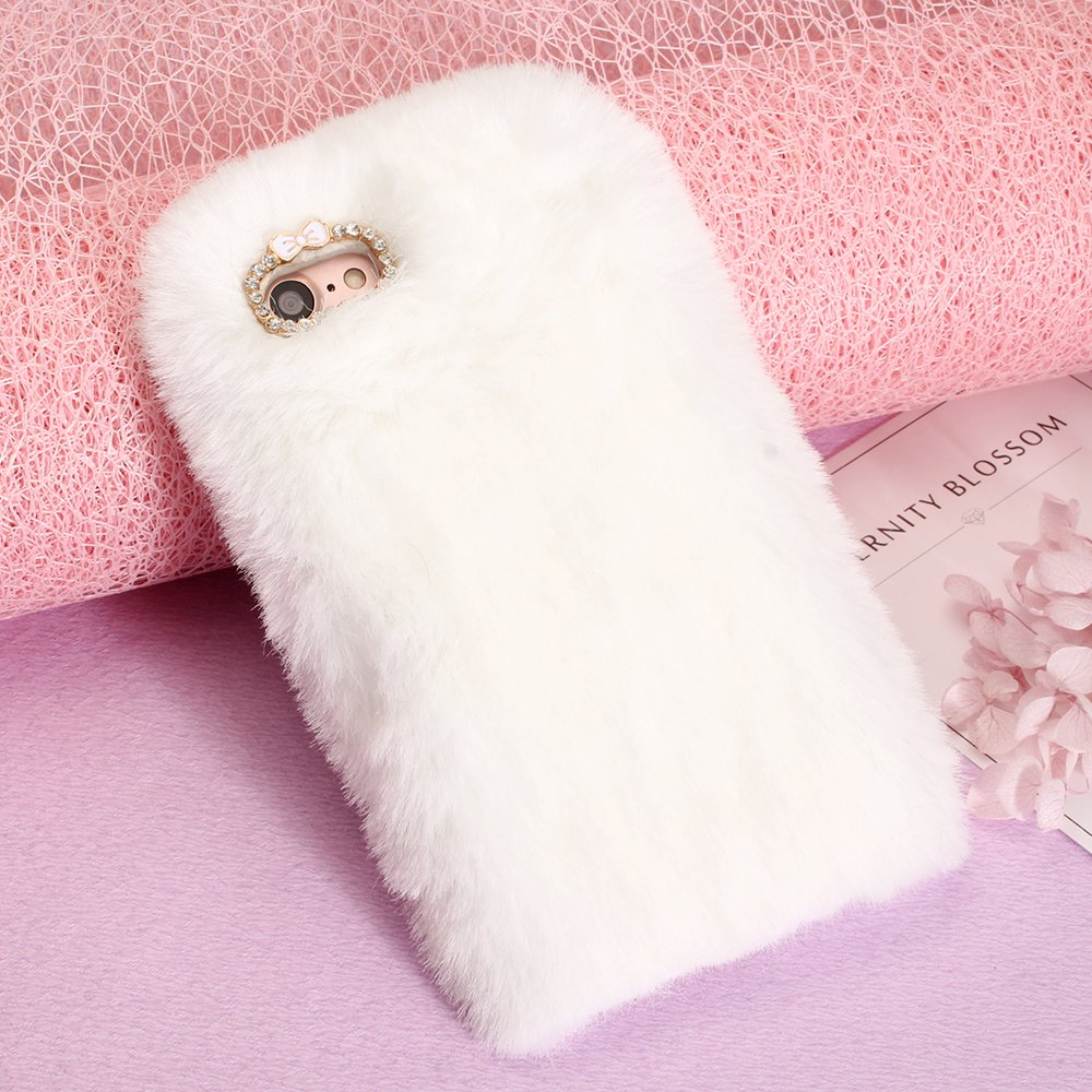 Cases for LG V30, SevenPanda 3D Diamond Rhinestone Bling Crystal Shining Bow Transparent TPU Silicone Soft Warm Fluffy Rabbit Furry Bunny Case Thin Shell for LG V30 - Dark Gray LGV30-MaoMaoTu-ShenHui