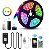 Aptech RGB LED Light Strips with Remote, Dimmable LED Rope Lights, 300LED 5050, IP65 Waterproof WiFi Strip Lights Outdoor, Wireless Smart Phone, Alexa Controlled (16.4ft/5m)