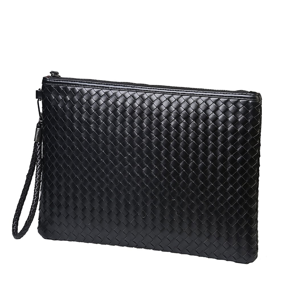 Men and Women Clutch weave Bag Business Small Phone Bags Cases for Lovers (Small, Black)