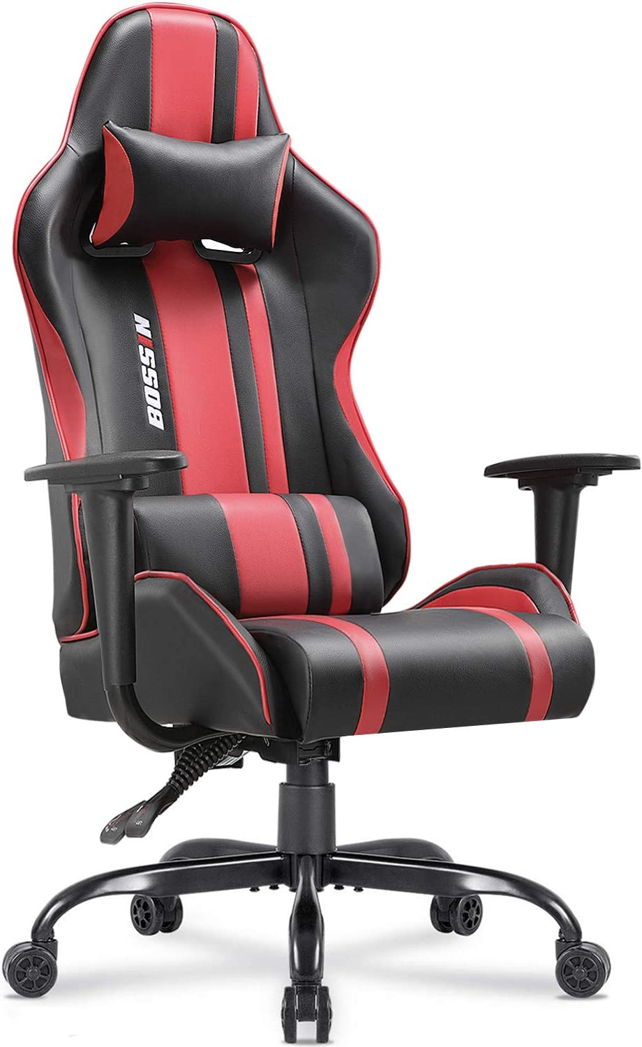 Bossin Gaming Chair Racing Style High-Back Computer Chair Swivel Ergonomic Executive Office Leather Chair Video Gaming Chair Red