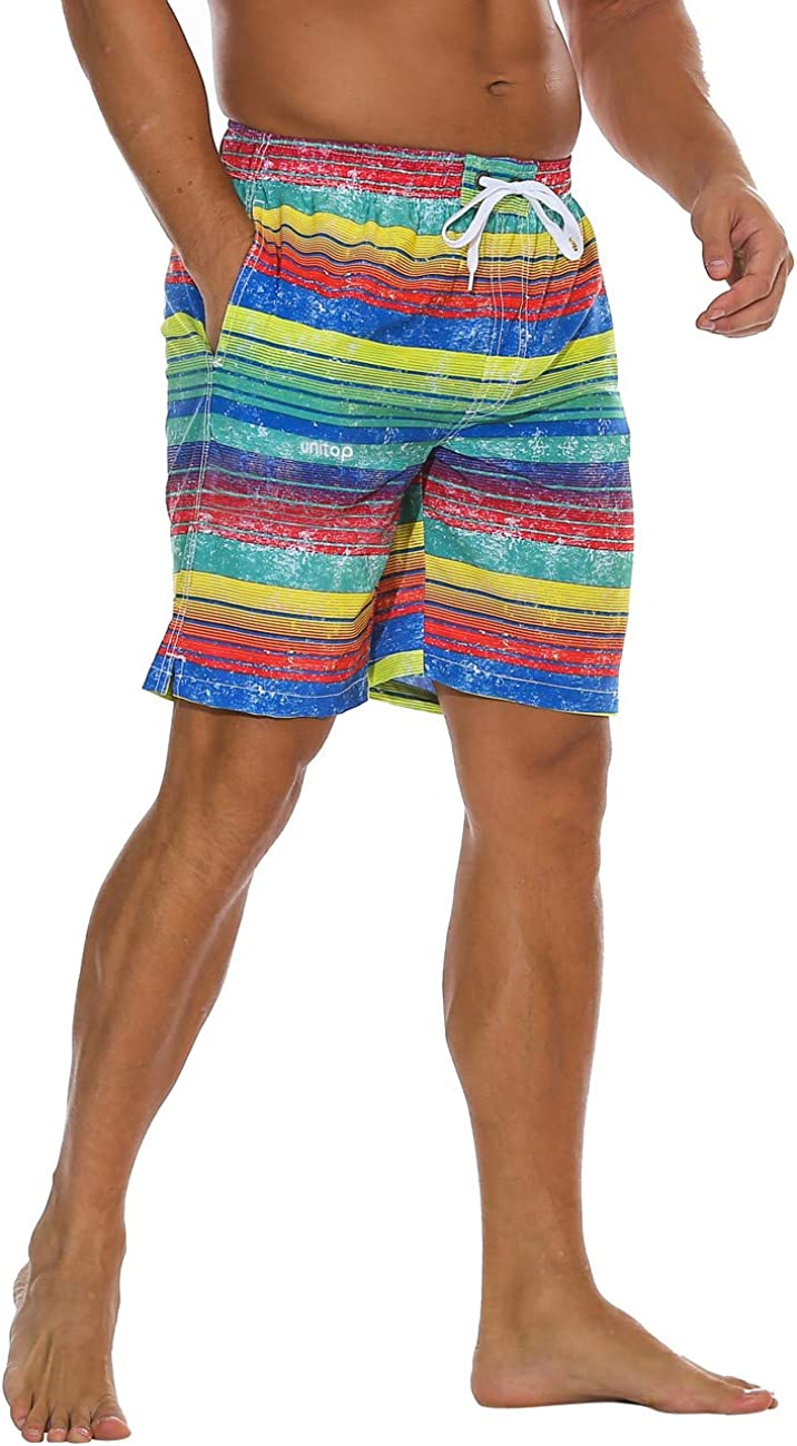 Unitop Men's Swim Trunks Classical Volley Board Shorts Colorful Pattern with Mesh Lining