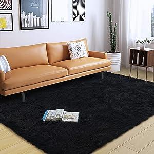 DweIke Soft Fluffy Shag Area Rugs for Living Room, Shaggy Floor Carpet for Bedroom, Girls Carpets Kids Home Decor Rugs,Cute Luxury Non-Slip Machine Washable Carpet ,5x8 Feet Black