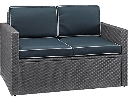 Superb Crosley Furniture Co7106Wg Nv Palm Harbor Outdoor Wicker Loveseat With Navy Cushions Grey Cjindustries Chair Design For Home Cjindustriesco