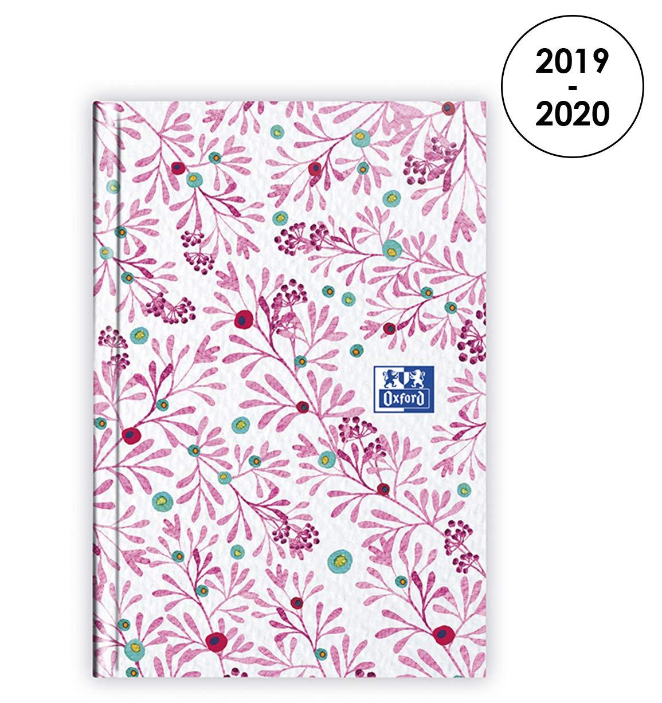 Oxford Agenda Flowers 2019 - 2020 d'Août à Août 2 Jours par Page Format 7,4X11 Rose