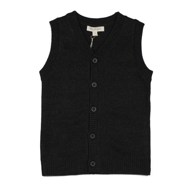 Mini Phoebee Boys' V-Neck Button Front Merino Wool Blend Cardigan Sweater Vest 6T Dark Grey