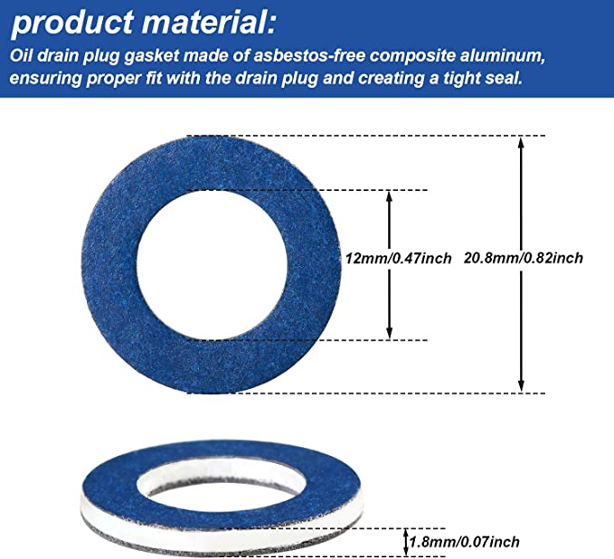 Vankcp 20 Pieces Aluminum Oil Drain Plug Crush Washer Gasket Seals Rings for Toyota 90430-12031 Blue