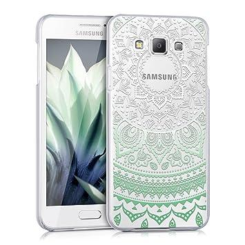 kwmobile Funda para Samsung Galaxy A3 (2015) - Carcasa de plástico para móvil - Protector Trasero en Menta/Blanco/Transparente
