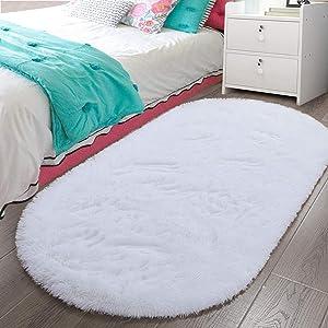 LOCHAS Luxury Velvet Fluffy Carpet Soft Children Rugs Room Mat Modern Shaggy Area Rug for Bedroom Bedside Home Decor 2.6' x 5.3', White