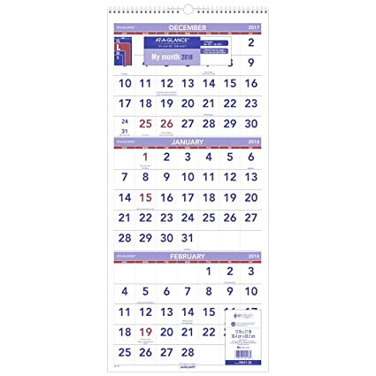 Amazon Com At A Glance Wall Calendar 2018 December 2017