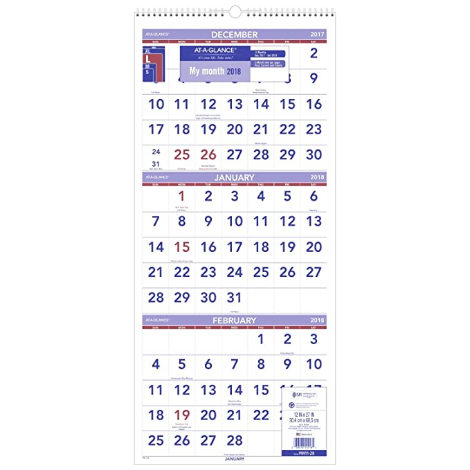December 2017 January And February 2019 Calendar 3 Month Amazon.: AT A GLANCE Wall Calendar, 2018, December 2017