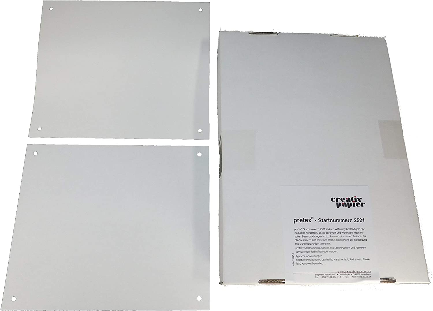 Amazon.com  Start numbers 250 x 210 mm, 4 mounting holes, 500 sheets, 120 g, white  Office ...