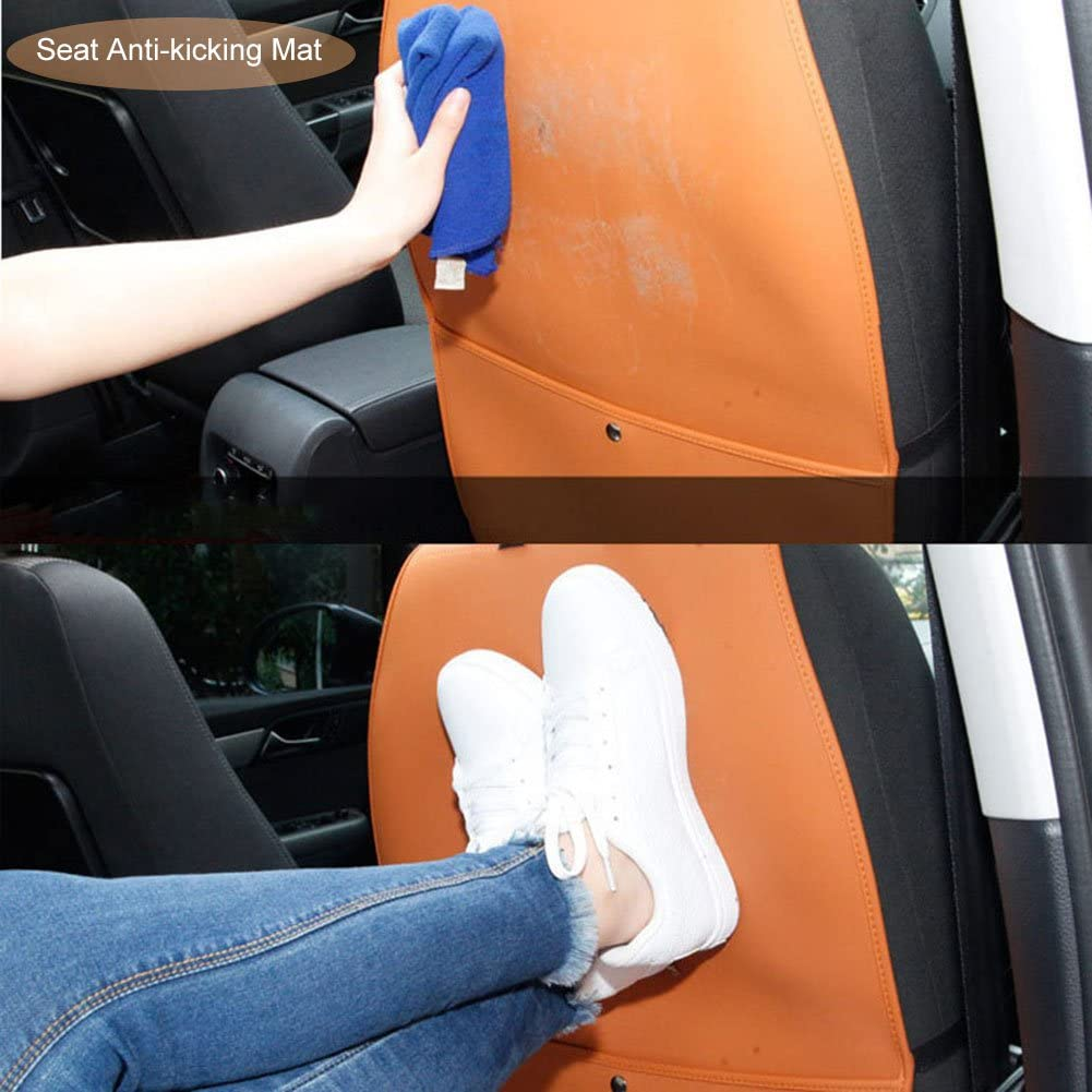 Car seat back protector car back seat organiser foot protectors with rear//organiser childrens seat back protector kick mats with guard fits most the car seat black matte