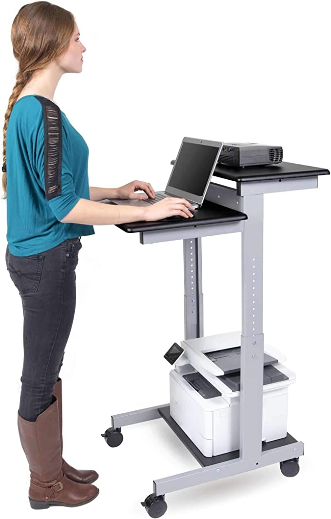 Pyle PLPTS25X2 PC Gaming Universal Portable Laptop Desk Stand Home or Office 6.3 to 10.9 Inch Adjustable Standing Table Monitor Computer Desk Workstation Riser w//Level Height Alignment for DJ