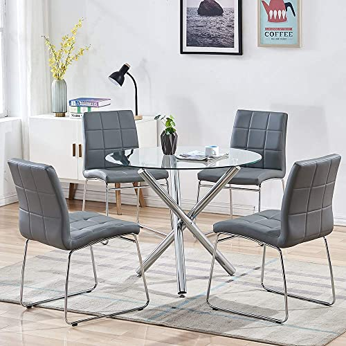 STYLIFING Dining Table and Chairs Set Round Clear Glass Top Crisscrossing Chrome Metal Legs Kitchen Table and 4 Sled Based Grey Faux Leather Chairs Dining Set Home Kitchen Office Waiting Room Use