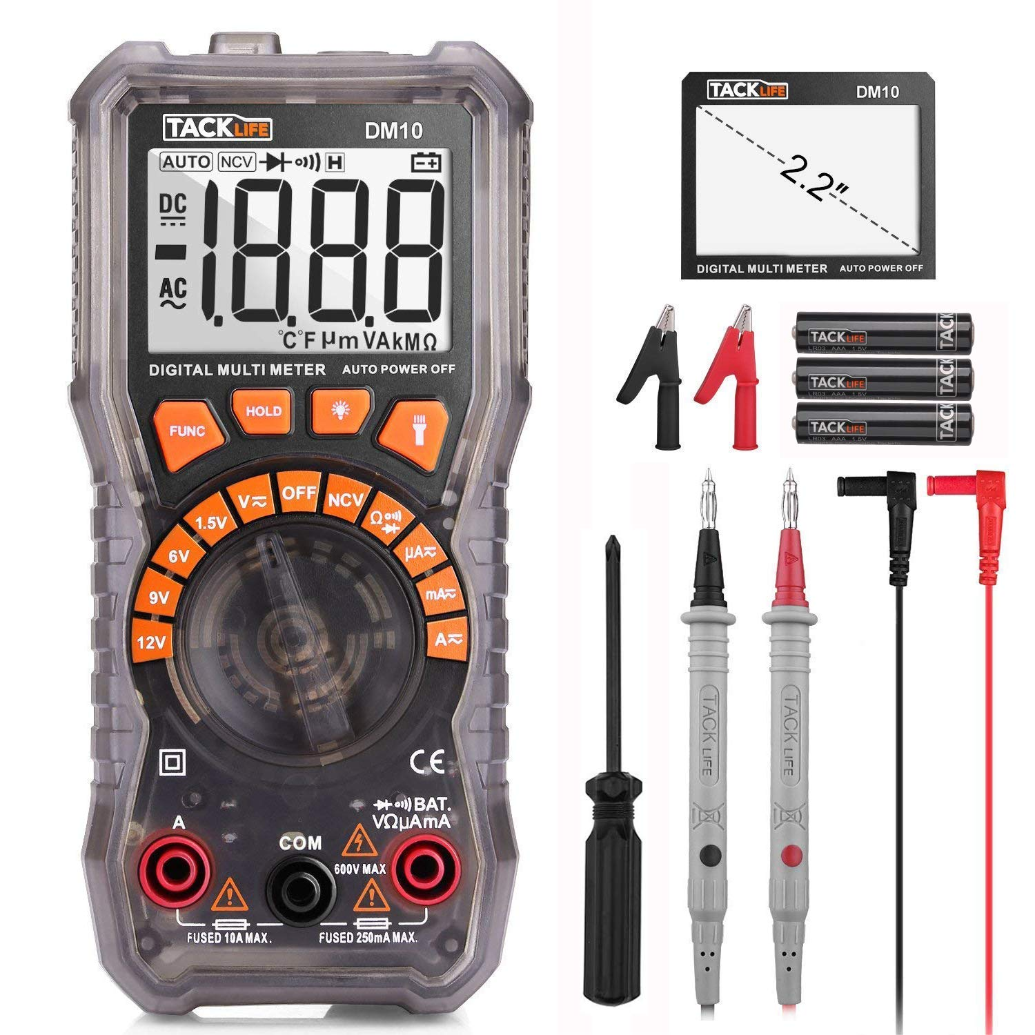 Multimeter, DM10 Electrical Tester 2000 Counts Auto-Ranging Amp Volt Ohm Meter Diode and Continuity Tester Voltage Detector with LCD Display and Backlight by TACKLIFE