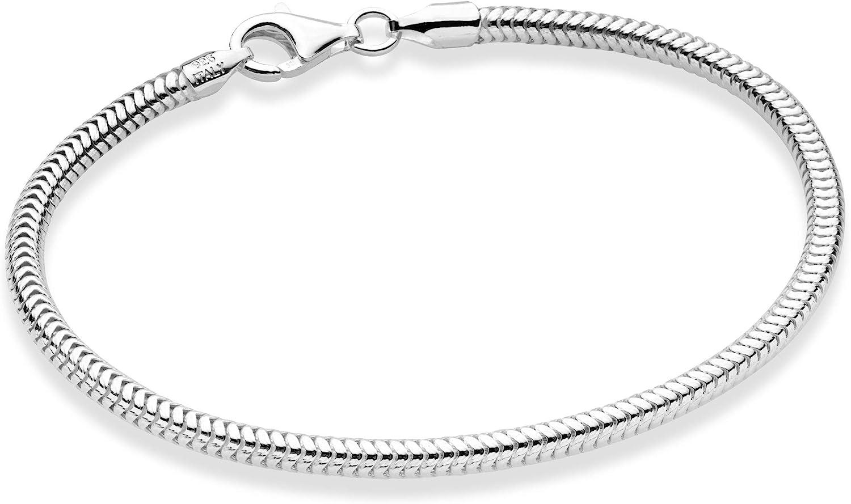Miabella Solid 925 Sterling Silver Italian 3mm Snake Chain Bracelet for Women Men Teen Girls, Charm Bracelet 6.5, 7, 7.5, 8, 8.5, 9 Inch Made in Italy