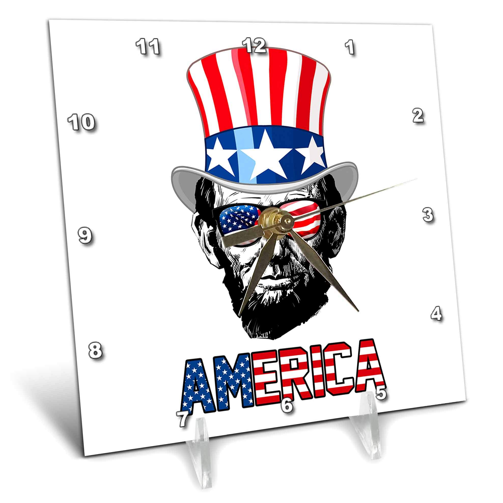 3dRose Carsten Reisinger - Illustrations - Abraham Lincoln Wearing a USA Flag top hat and Sunglasses America - 6x6 Desk Clock (dc_293414_1)
