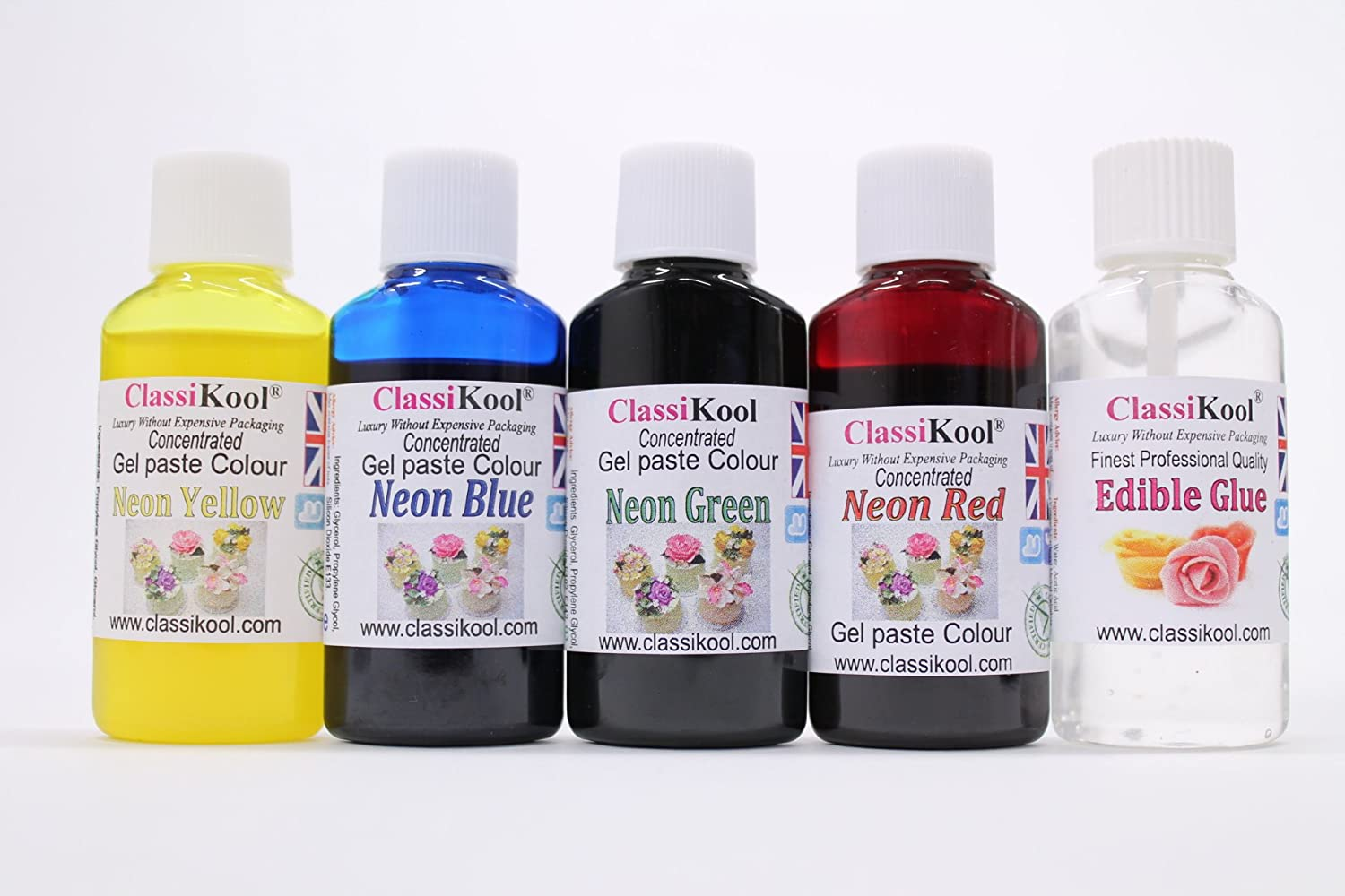 Classikool Food Colouring Sets of 4: Gel, Droplet, Neon & Pastel + Free  Edible Glue (Neon Colour Set) [*Free UK Post]