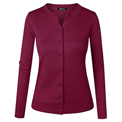 BH B.I.L.Y USA Women's Unique Button Long Sleeve Soft Knit Cardigan Sweater Magenta 1X-Large at Women's Clothing store
