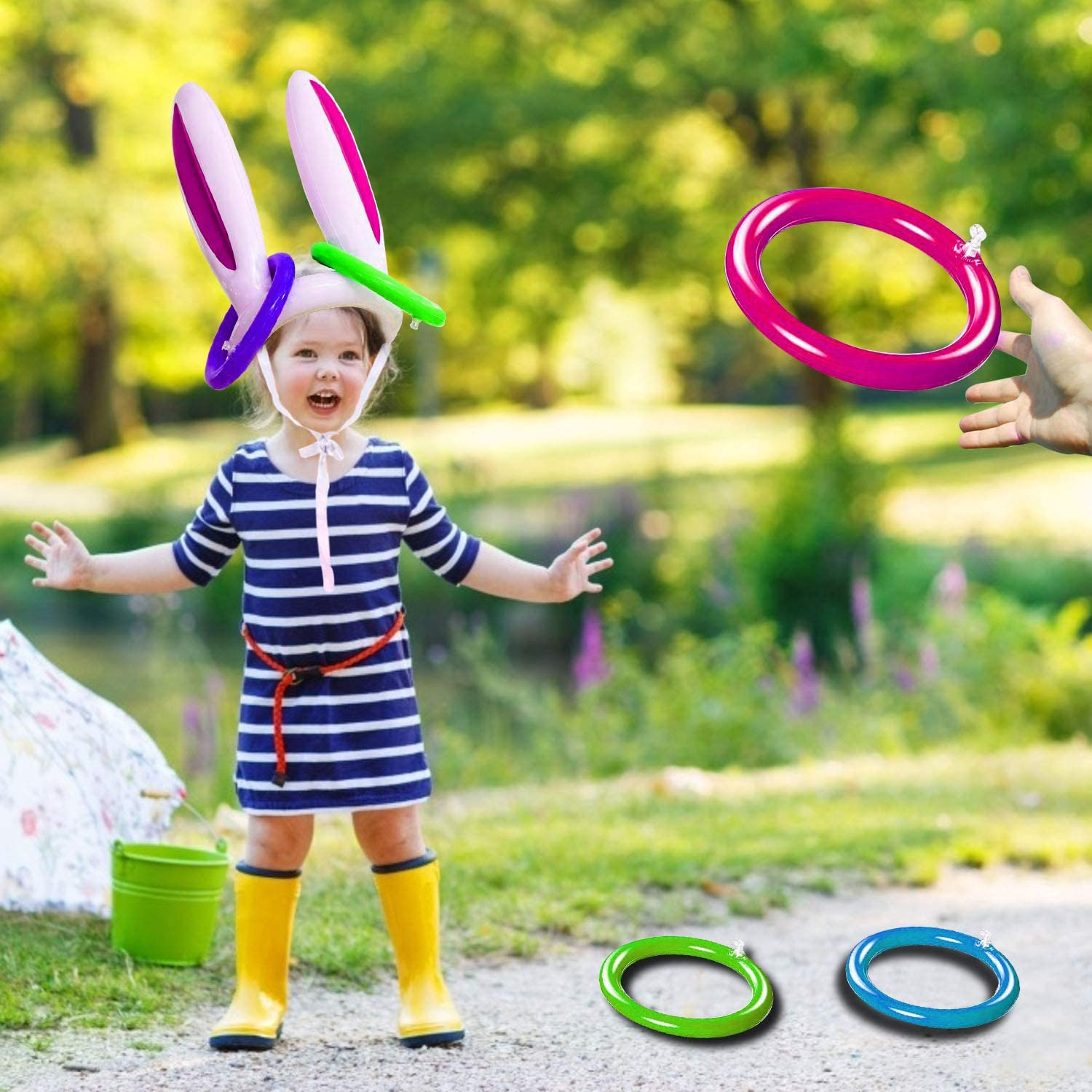 3 Pack Easter Inflatable Bunny Ring Toss Game Easter Rabbit Ears Ring Toss Party Games Inflatable Toys Gift for Kid Family School Party Favor Indoor Outdoor Toss Game (3 Set & 12 Rings