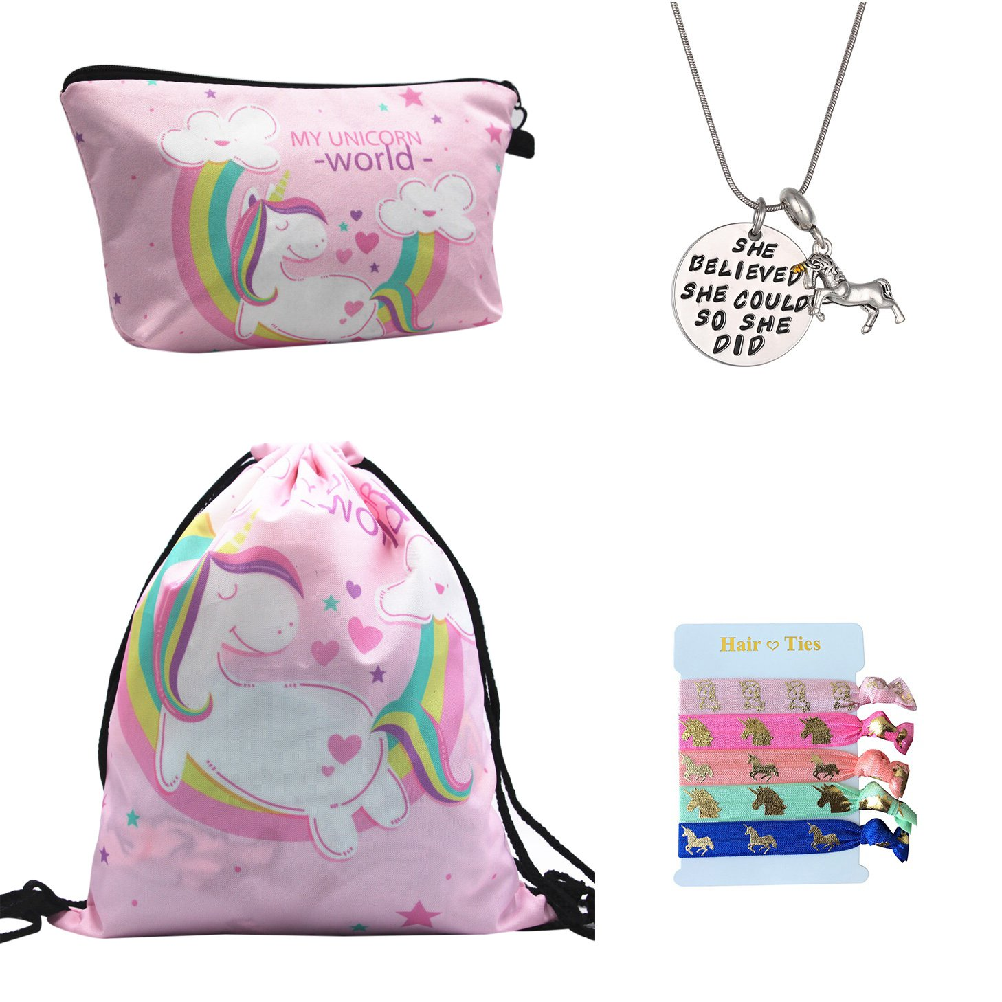 Unicorn Gifts for Girls 4 Pack - Unicorn Drawstring Backpack/Makeup Bag/Inspirational Necklace/Hair Ties (Unicorn World - Pink)
