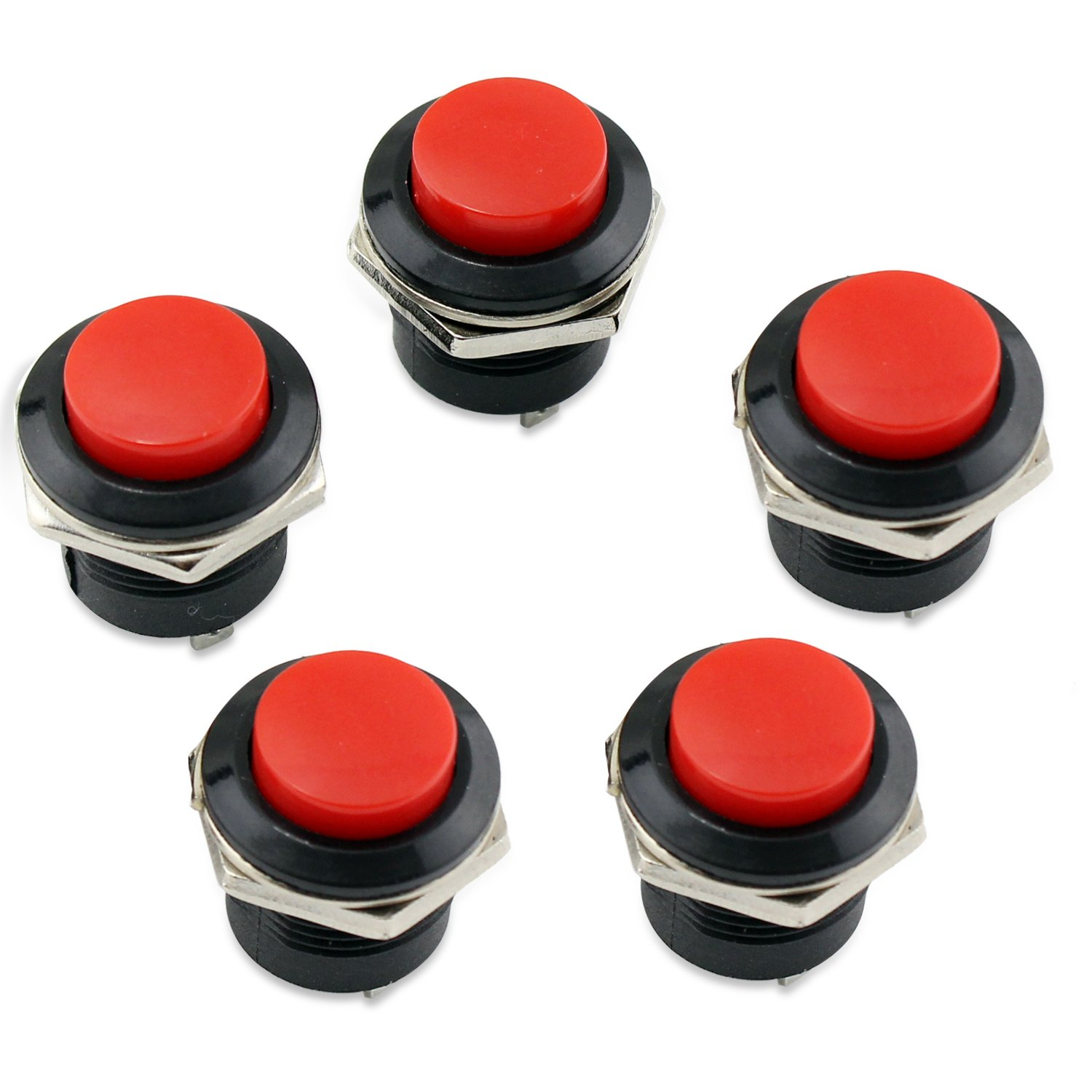 PsmGoods 5 Red momentaneo On / Off Pulsanti Interruttore Horn per Car Auto