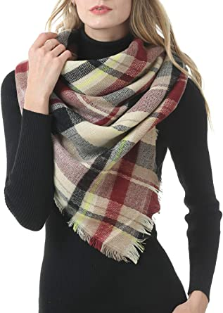 Oversized Plaid Square Scarf