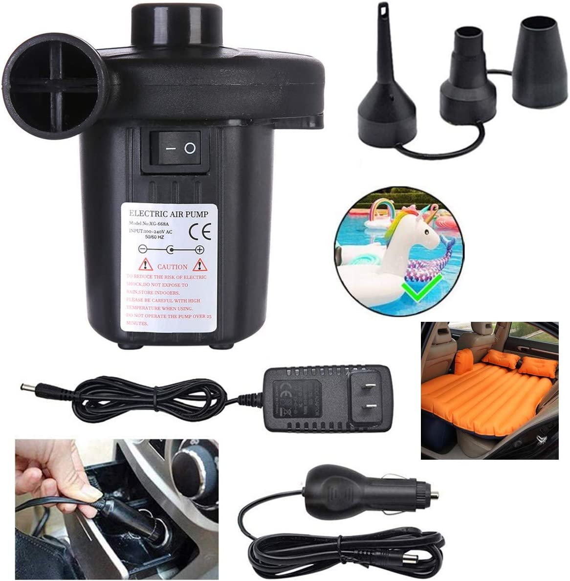 Utaomld Air Pump, Electric Quick Air Pump for Inflatables Air Mattress Pump with 3 Nozzles Inflator Deflator for Air Beds Swimming Ring Inflatable Pool Toys, Portable, Black