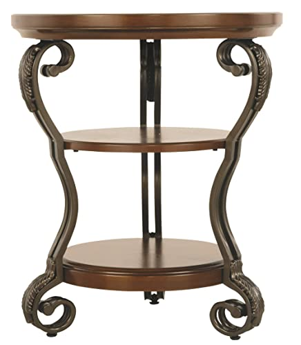 Signature Design by Ashley – Nestor Traditional Chairside End Table w Two Shelves, Medium Brown