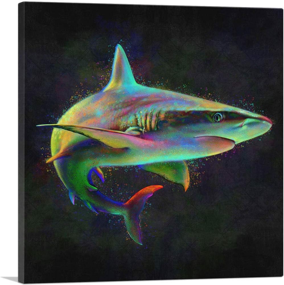"""ARTCANVAS Shark Fish Shortfin Mako Tiger Ocean Sea Canvas Art Print - 26"""" x 26"""" (0.75"""" Deep)"""