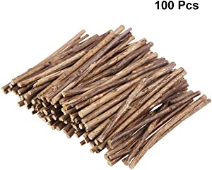 Tinksky 10CM Long 0.3-0.5CM in Diameter Wood Log Sticks for DIY Crafts Photo Props 100pcs (Wood Color)