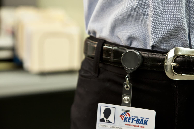 Steel Belt Clip and Vinyl ID Strap Key-Bak Mini-Bak Retractable Reel with 36-Inch Nylon Cord