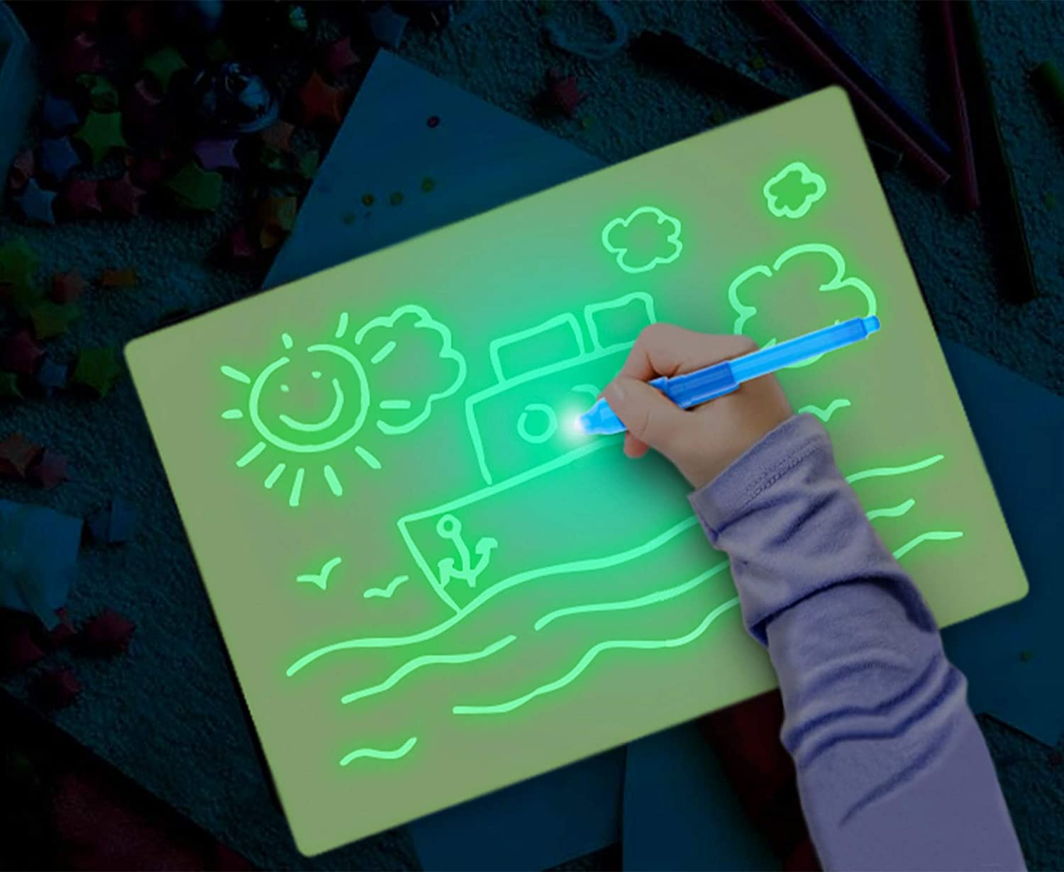Lepeuxi A3 3D Luminous Drawing Board Pad Writing Painting Board Draw with Light Fun and Developing Toy for Kids Gift