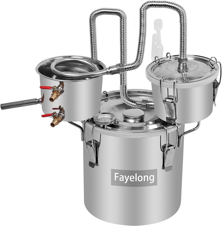 FayeLong - Kit completo para destilación casera: alambique, destilador con serpentín y termómetro, de acero inoxidable, para la destilación de agua, alcohol, vino y aceites esenciales