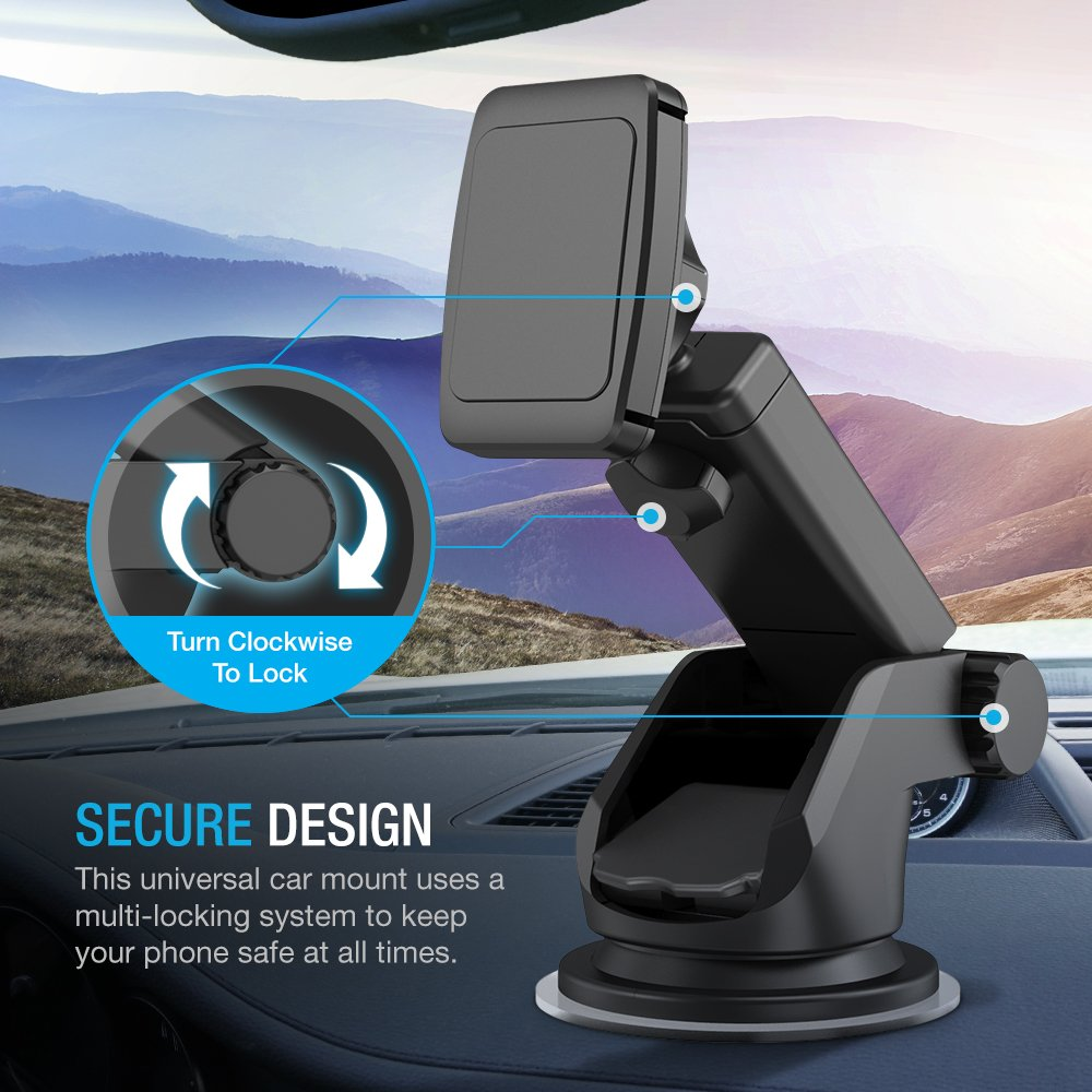 Maxboost Dashboard Mount, Universal Durahold Magnetic Car Mount w/Extended Adjustable Arm Perfect on Windshield Car Mount Holder For Phones, iPhone X 8 7 6s 6 Plus, Galaxy s9, s8, Note 8,LG,Pixel 2 by Maxboost (Image #9)