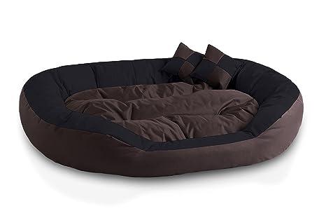 BedDog 4en1 Saba Marron/Negro XXL Aprox. 110x80cm colchón para Perro, 7 Colores, Cama, sofá, Cesta para Perro