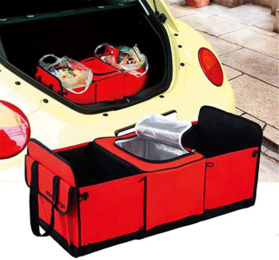 Folds flat emergency gear for easy organized access FMH Vehicle Travel 3-section Organizer supplies holds maps PLUS the removable insulated thermal shield keeps drinks or groceries HOT or COLD
