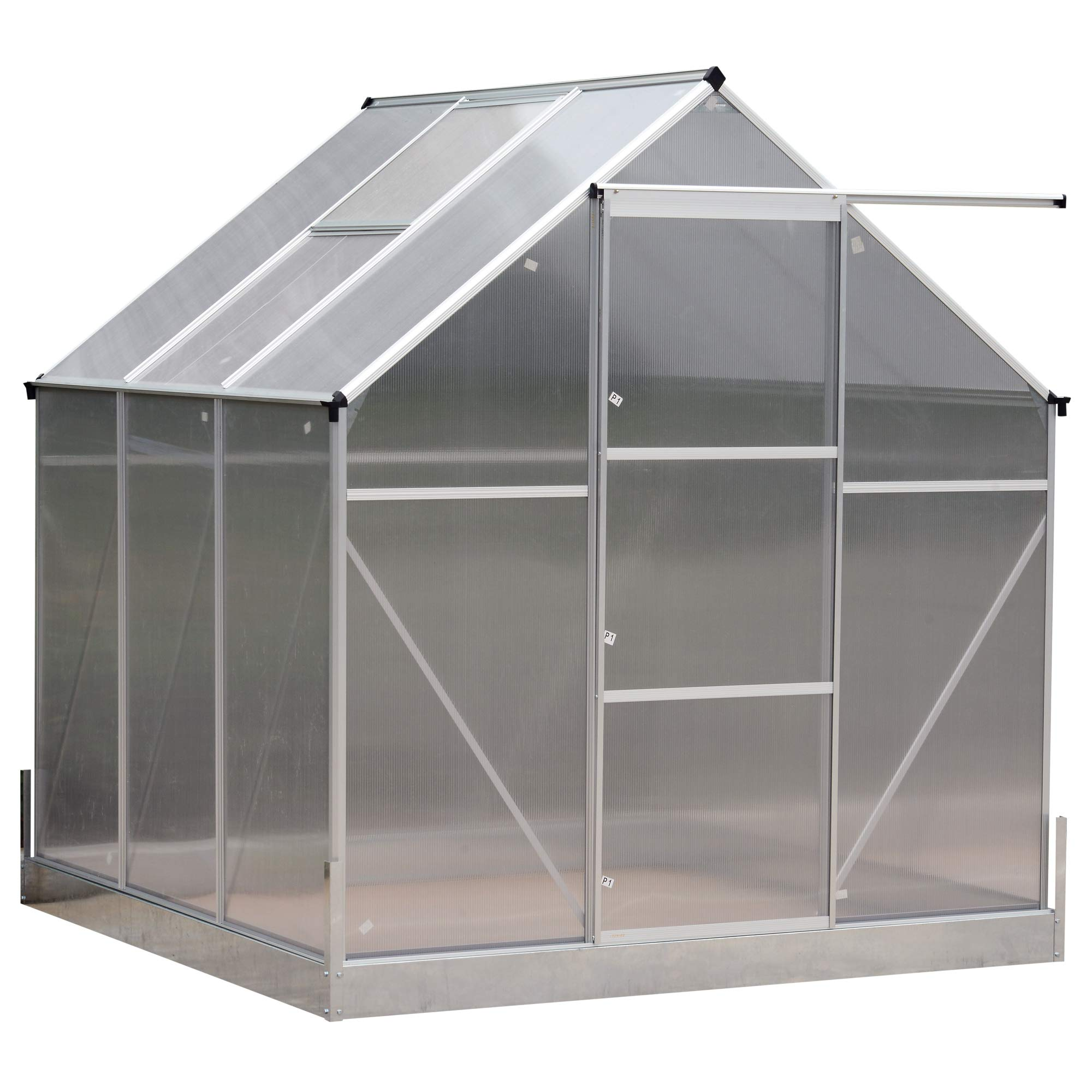 Outsunny 6.25' L x 6.25'W x 7.2'H Portable Outdoor Walk-in Garden Greenhouse Planter