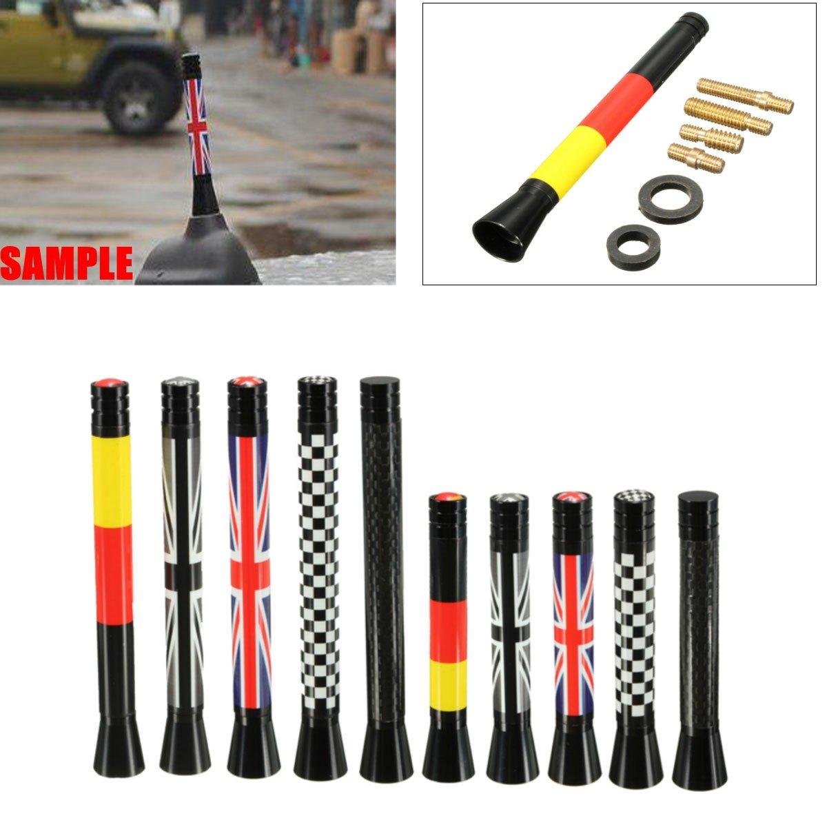 7.7cm/10.7cm Union Jack UK GER Flag Carbon Fiber Grid Car Antenna Vivona NO.: 003