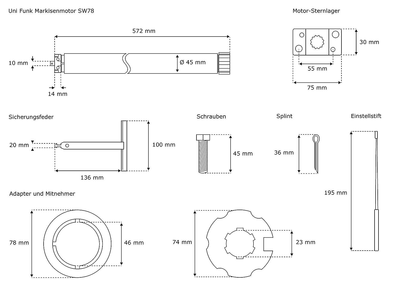JAROLIFT Motor para Toldo universal controlado por radiofrecuencia Uni 78 Funk Adaptador para motor 70 mm