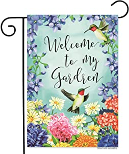 Spring Flowers Hummingbird Welcome Garden Flag 12x18 Double Sided Small Colorful Springtime Welcome to My Home Garden Yard Flags Banner for Outdoor Indoor Decoration