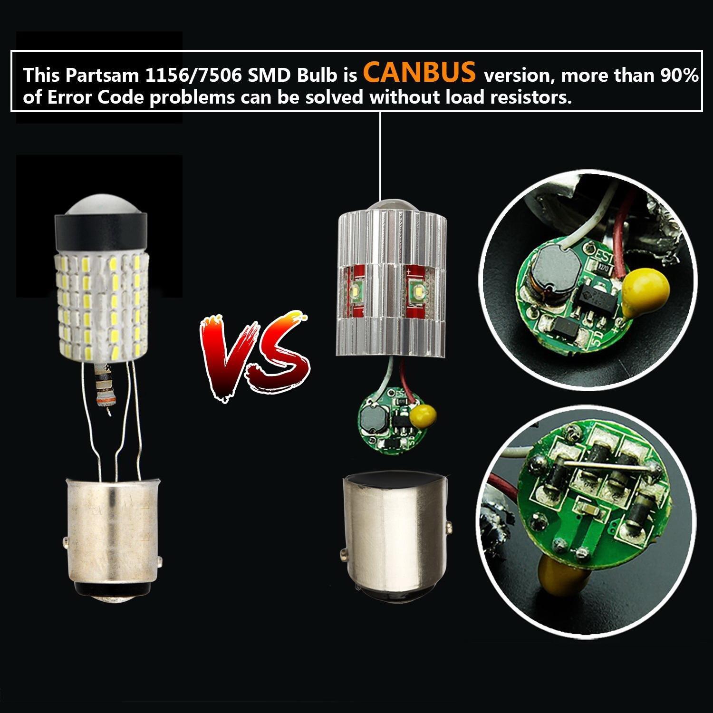 Partsam 2X 3157 T25 3156 3056 3057 CANBUS Error Free LED Backup Reverse Light 6000K White Cree High Power 25W 750LM//Bulb Genuine Car Led Bulb Lamps