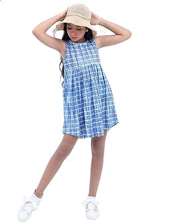 فستان مخطط بجيبة واسعة بدون اكمام للبنات من قاضي - ازرق وابيض